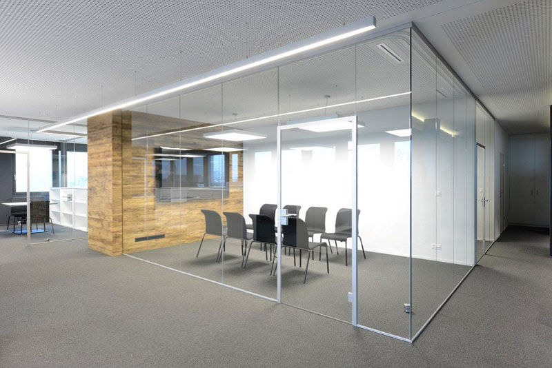 Removable partition  glazed  for offices  doubleglazed  Glas