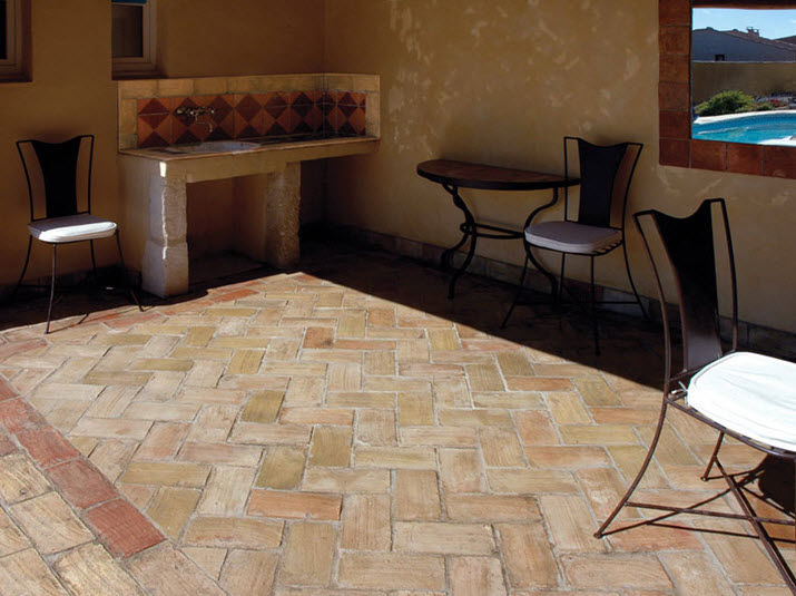 Indoor Tile Floor Terracotta Matte French Reclaimed Pave