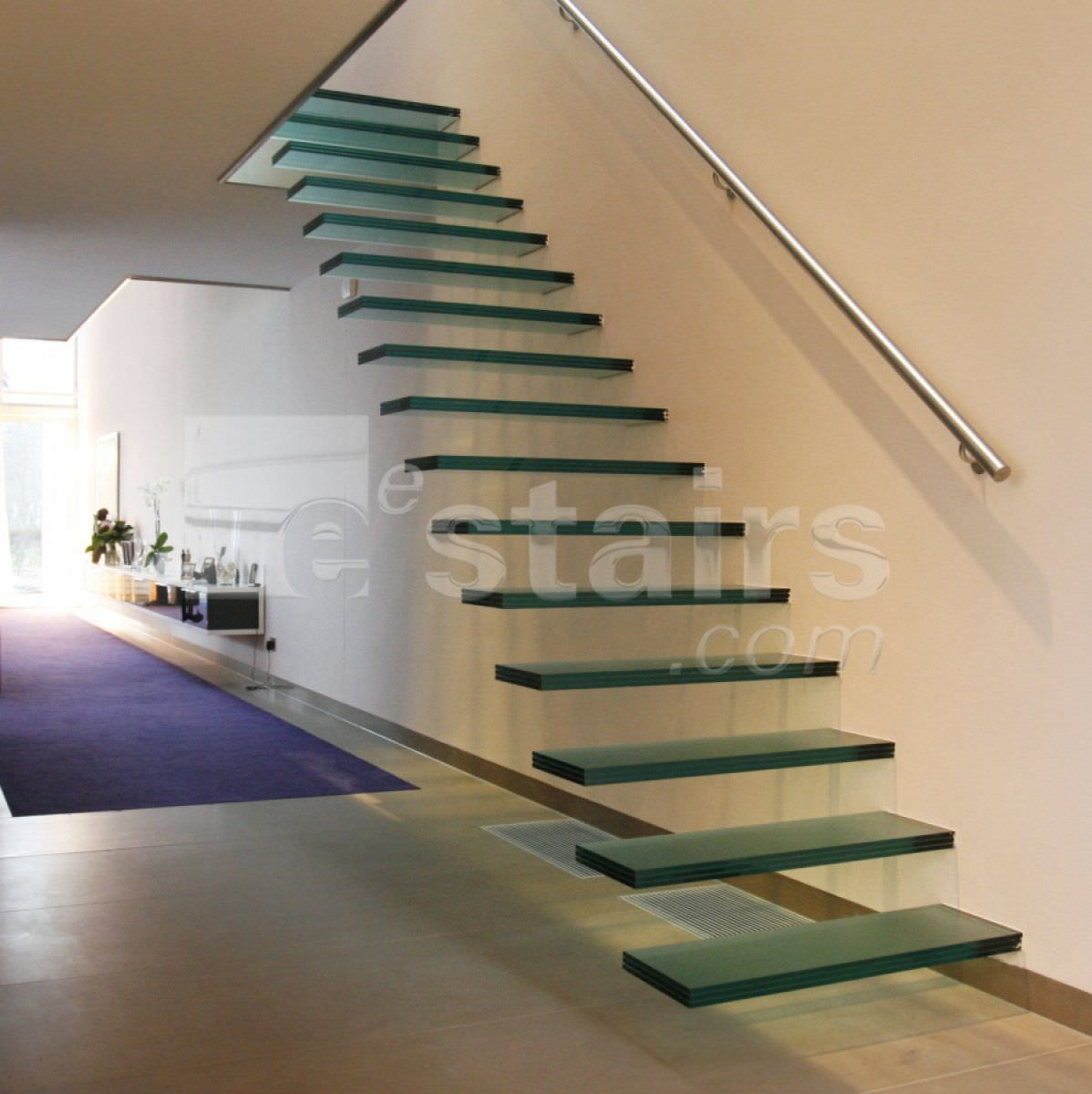 Attractive Straight Staircase / Glass Steps / Without Risers / Contemporary TRE 474  EeStairs ...