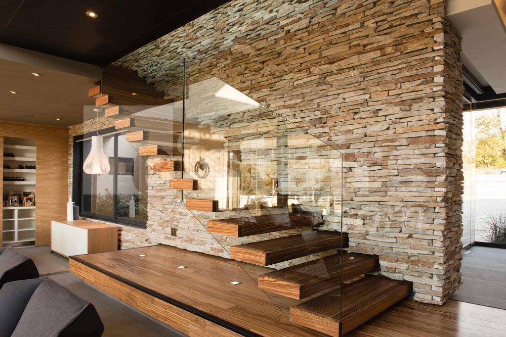 Straight Staircase Glass Frame Wooden Steps Without Risers