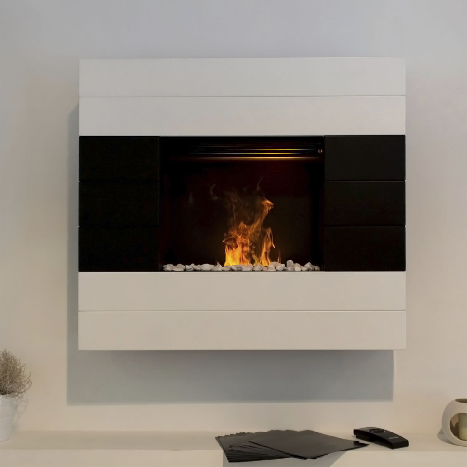 Electric fireplace / contemporary / open hearth / wall-mounted ...