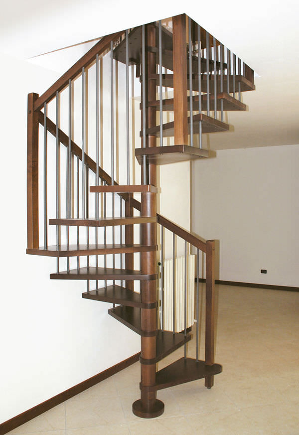 Captivating Square Spiral Staircase / Wooden Steps / Wooden Frame / Without Risers    ONICE