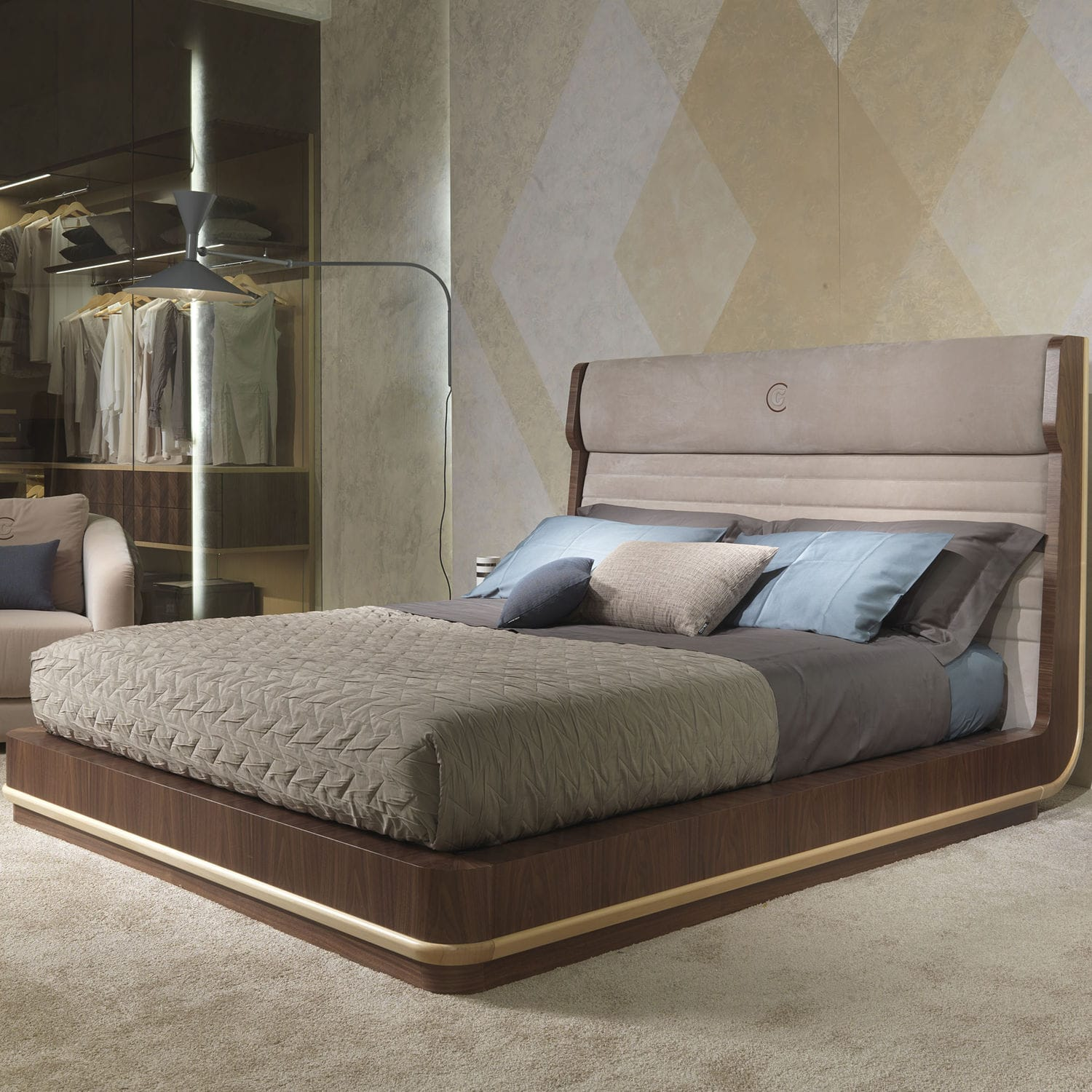 Double Bed Contemporary With Upholstered Headboard Wooden Le26 Galileo