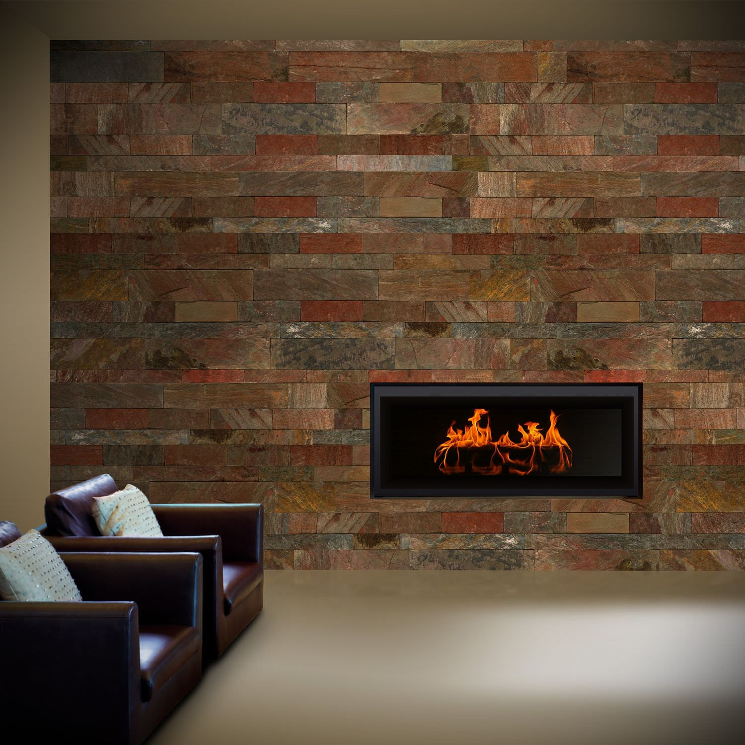 indoor tile living room wall slate copper