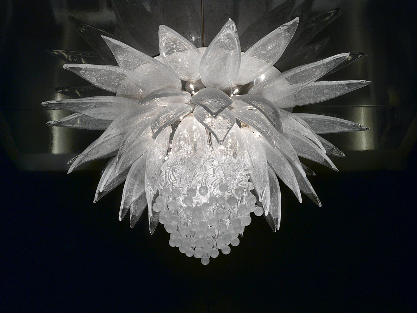 Contemporary chandelier blown glass incandescent lotus contemporary chandelier blown glass incandescent lotus flower by petra ehoov arubaitofo Images