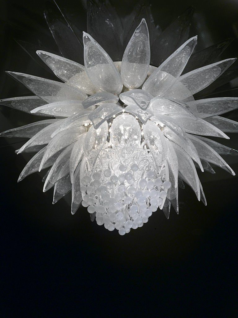 Contemporary Chandelier Blown Glass Incandescent Lotus Flower