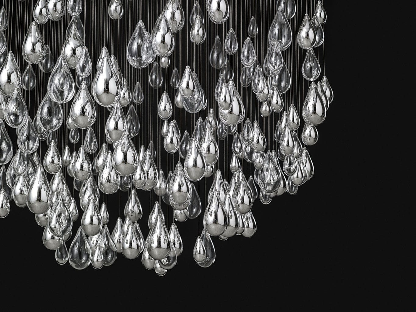 Contemporary chandelier blown glass stainless steel led contemporary chandelier blown glass stainless steel led droplets by jan plechac henry mozeypictures