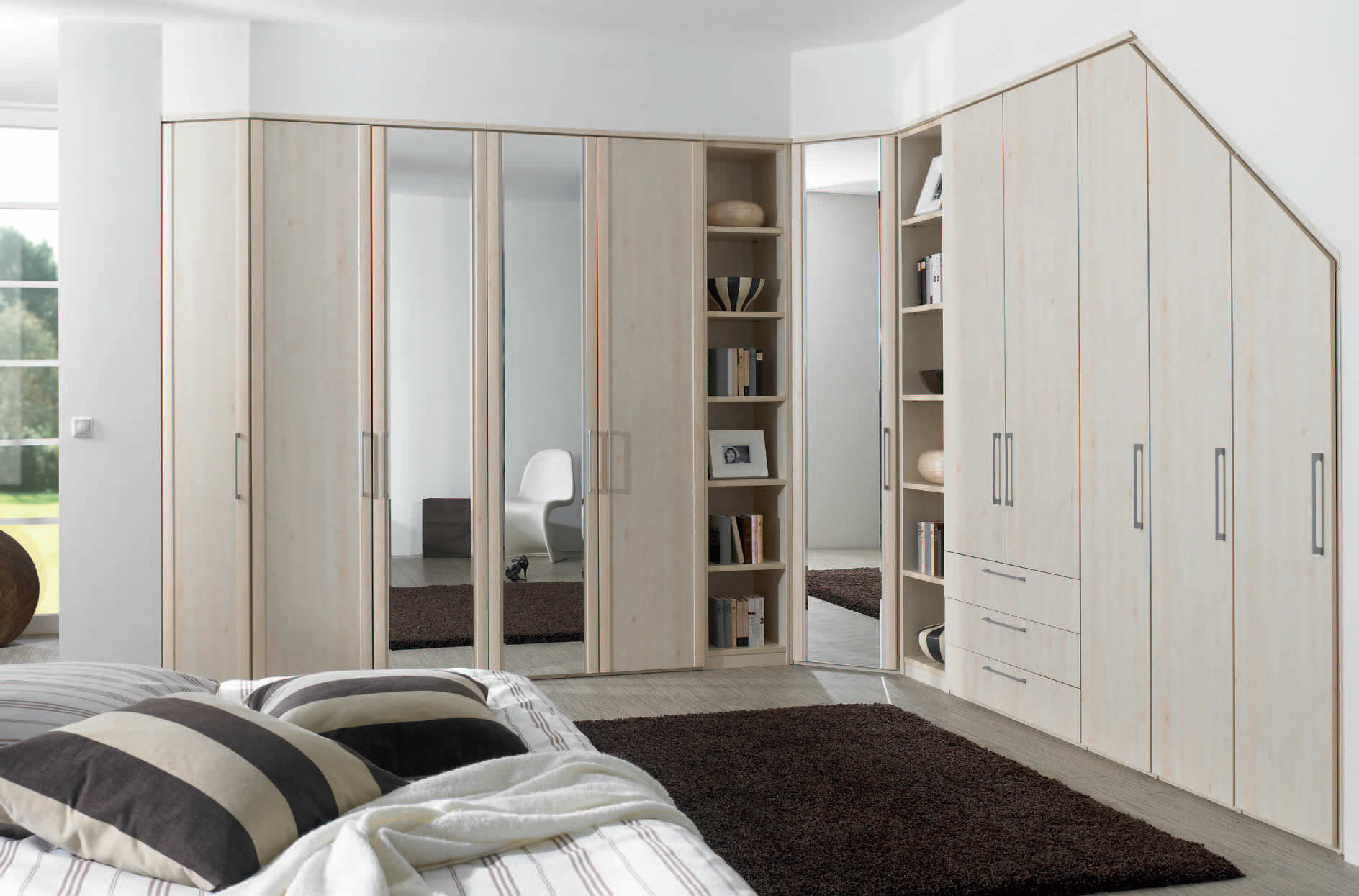 corner wardrobe wooden with swing doors horizont
