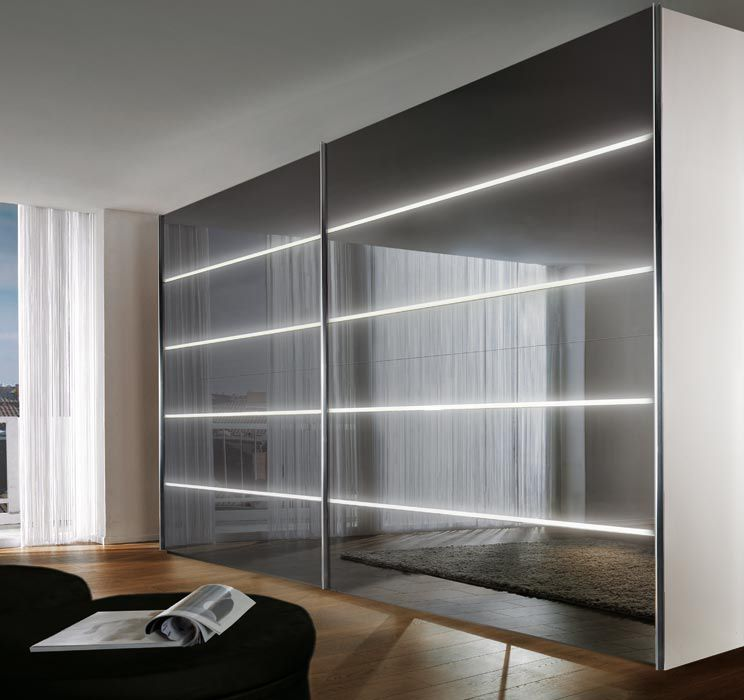 Contemporary wardrobe / glossy lacquered wood / glass / sliding ...