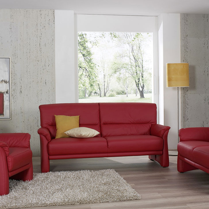 Contemporary Sofa Fabric Leather 3 Seater