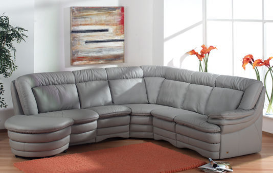 Corner sofa / traditional / leather / 5-seater - PLANOPOLY 3 ...