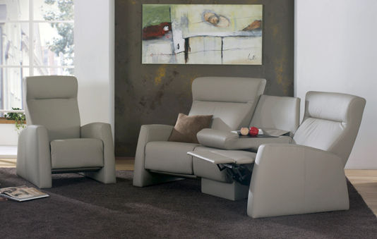 Traditional sofa / leather / 3-seater / reclining - TANGRAM RELAX ...