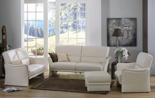 Traditional sofa / leather / 2-seater / white - TANGRAM : 9553 ...