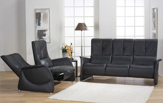 Traditional sofa / leather / 3-seater / reclining - CUMULY : 4006 ...