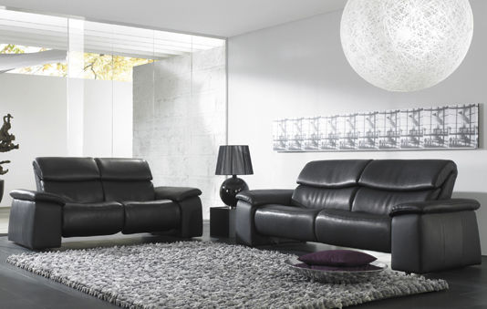 Traditional sofa / leather / 3-seater / reclining - CUMULY : 4032 ...
