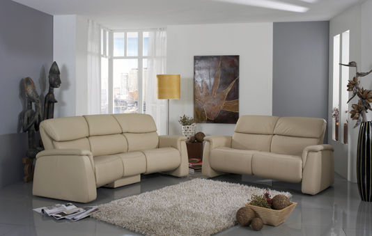 Traditional sofa / leather / 3-seater / reclining - CUMULY : 4203 ...