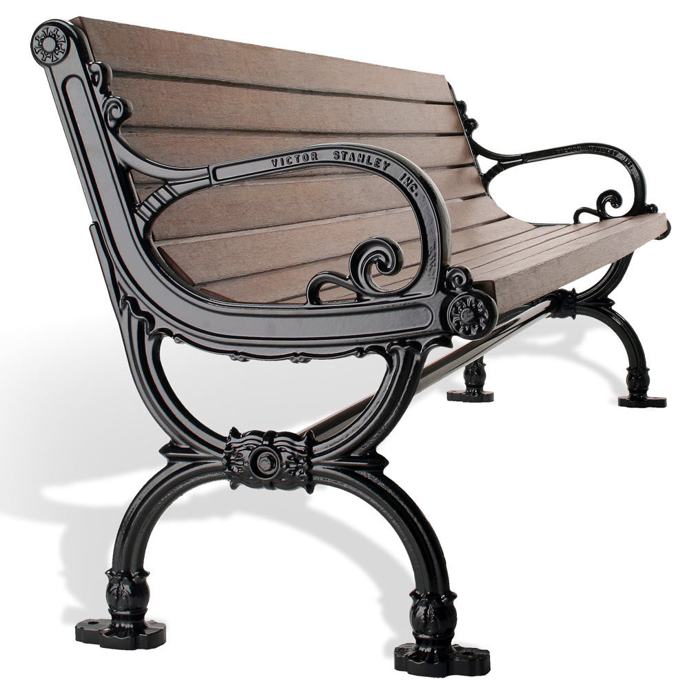 public bench / traditional / wooden / metal - c-10 - victor stanley