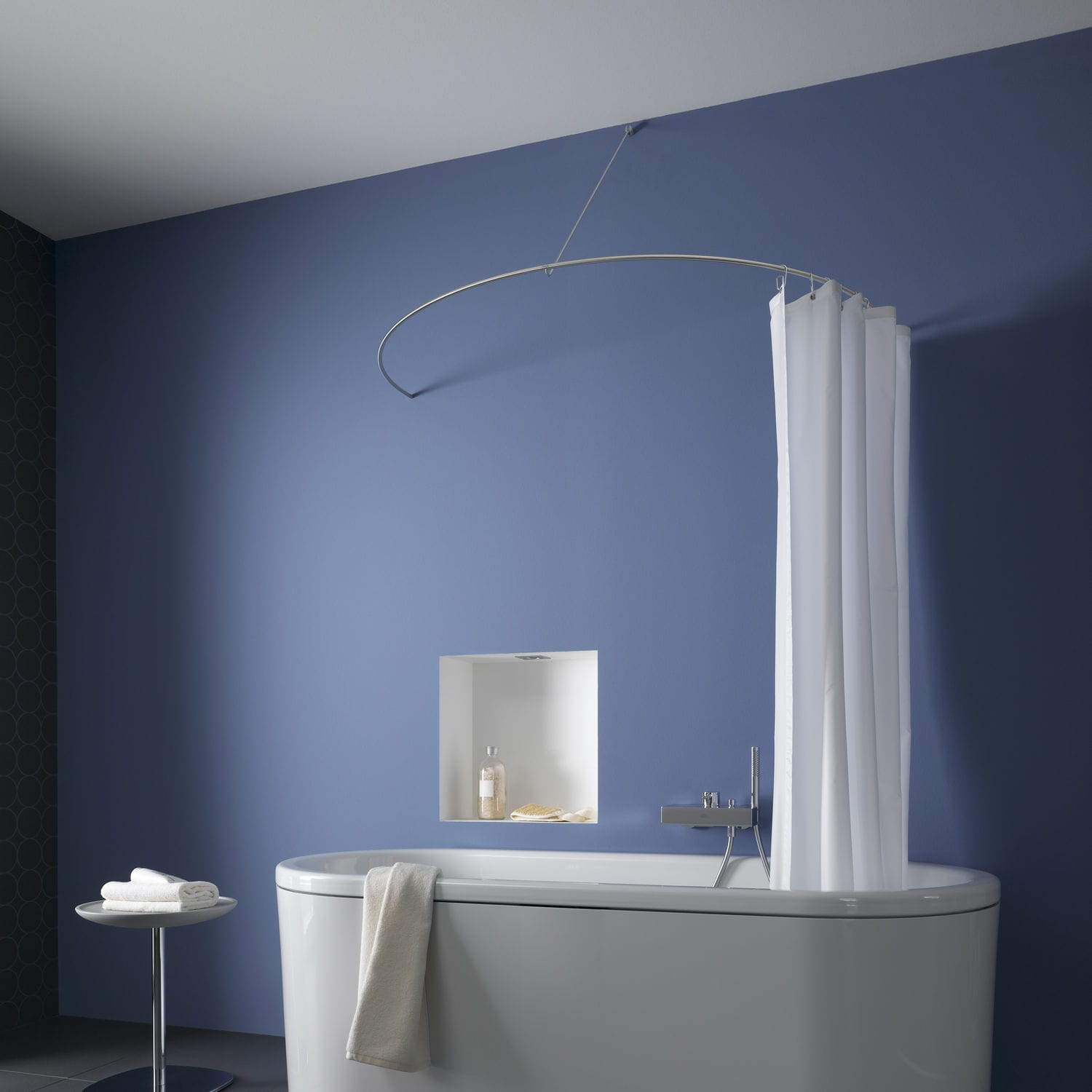 Stainless steel shower curtain bar / curved - DR700HW - PHOS Design ...
