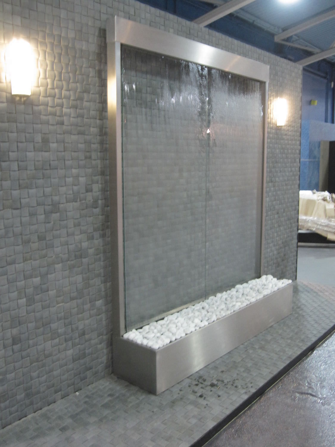 stainless steel water wall glass custom espace concept spa