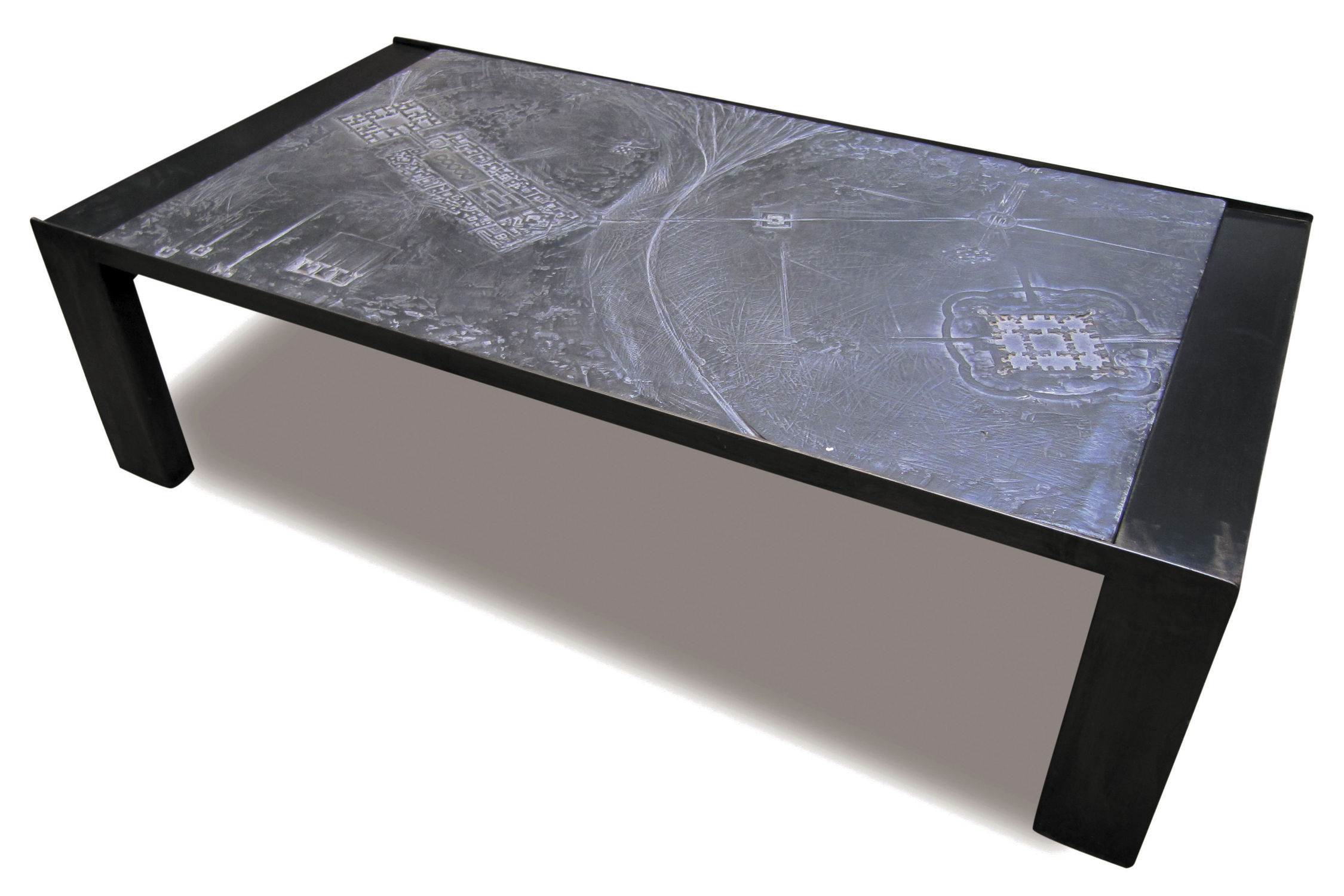 Contemporary coffee table metal engineered stone rectangular