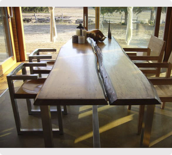 Original Design Table Solid Wood Brushed Stainless Steel