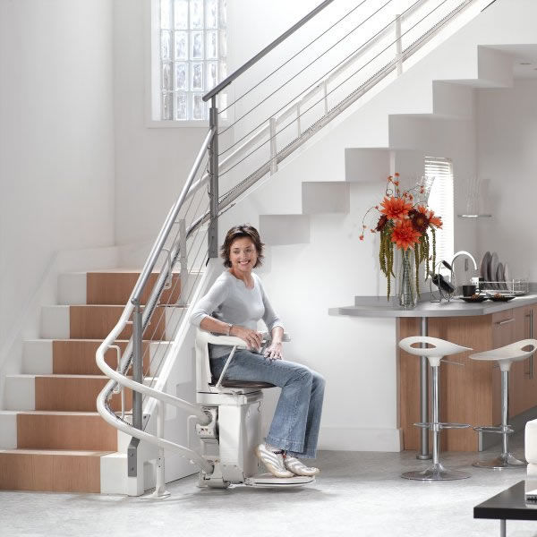 Indoor Chair Stair Lift / Rotating SOLUS Stannah France ...