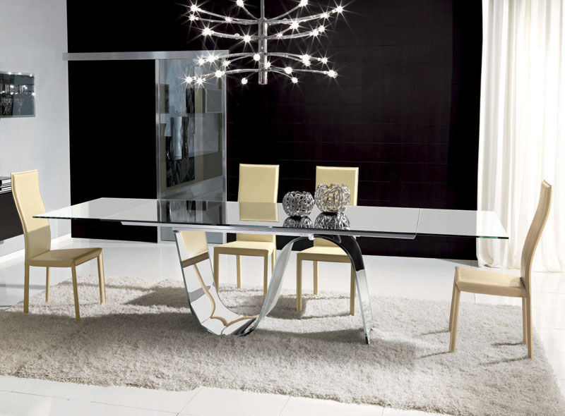 Contemporary Dining Table / Tempered Glass / Rectangular / Extending    INFINITY : TAV001A