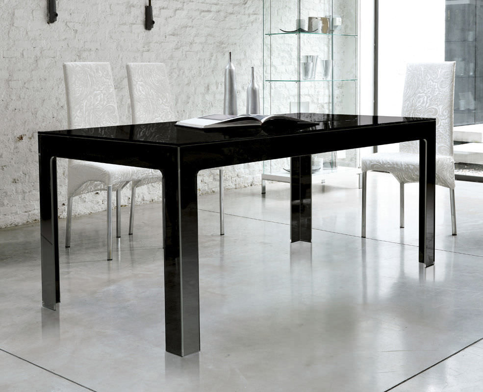 contemporary dining table  tempered glass  rectangular  black  -  contemporary dining table  tempered glass  rectangular  black ghost tav unico italia