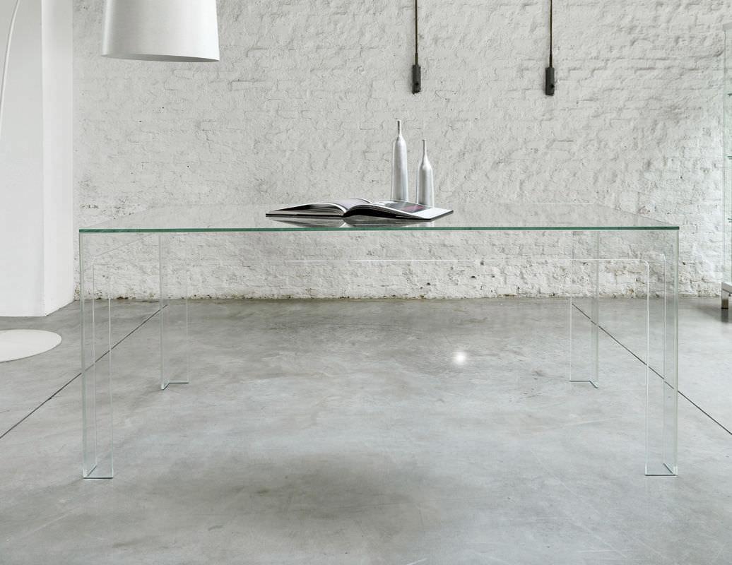 ... Contemporary Dining Table / Tempered Glass / Rectangular / Black GHOST  : TAV005 Unico Italia