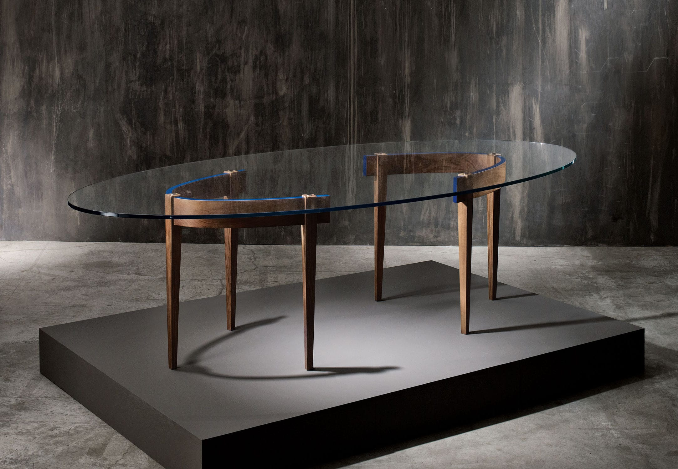 Contemporary dining table walnut glass rectangular THE ROUND