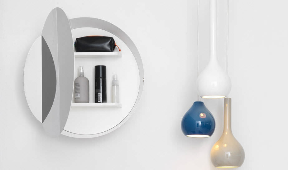 Wall-mounted bathroom mirror / with storage compartment ... on chrome bathroom mirror with shelf, frameless bathroom mirror with shelf, antique bathroom mirror with shelf,