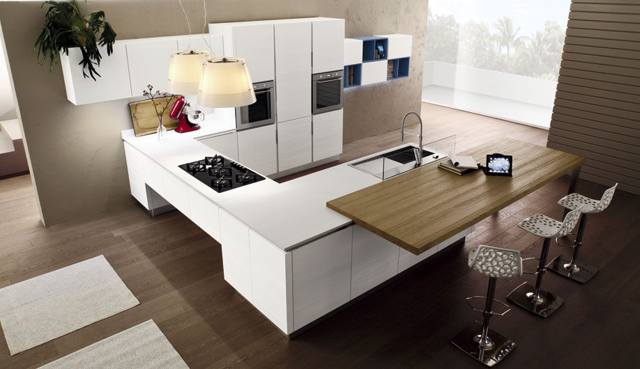 Contemporary kitchen / wooden / island / lacquered - ANICE - Arrex