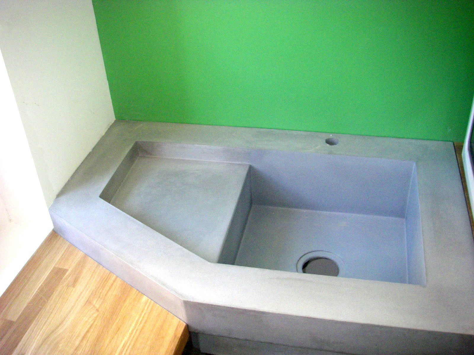 Single-bowl kitchen sink / Ductal® UHP concrete / with drainboard ...