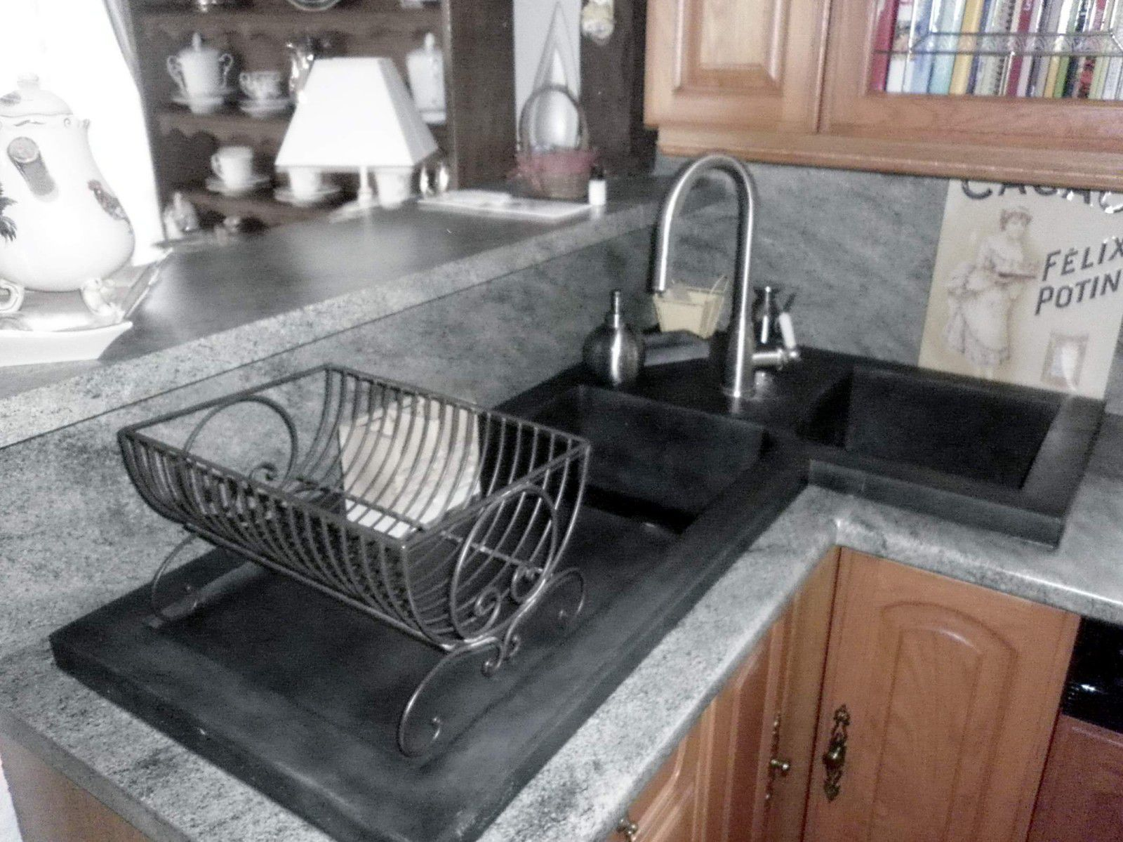 Double Kitchen Sink / Ductal® UHP Concrete / Corner / With Drainboard  BALIAN BETON Atelier ...