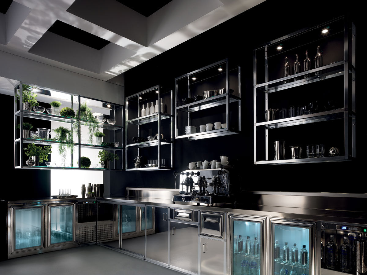 Wall-mounted shelf / contemporary / aluminum / for bars ...