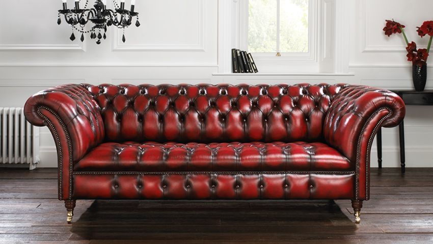 Chesterfield Sofa Leather 3 Seater Red Blenheim