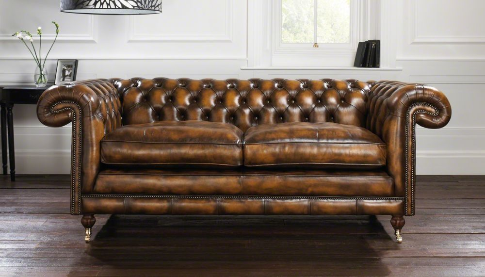 Chesterfield Sofa Leather 2 Person Brown Chatsworth