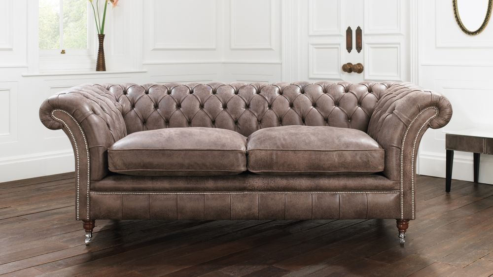 Chesterfield Sofa / Leather / 2 Person / Brown   DRUMMOND