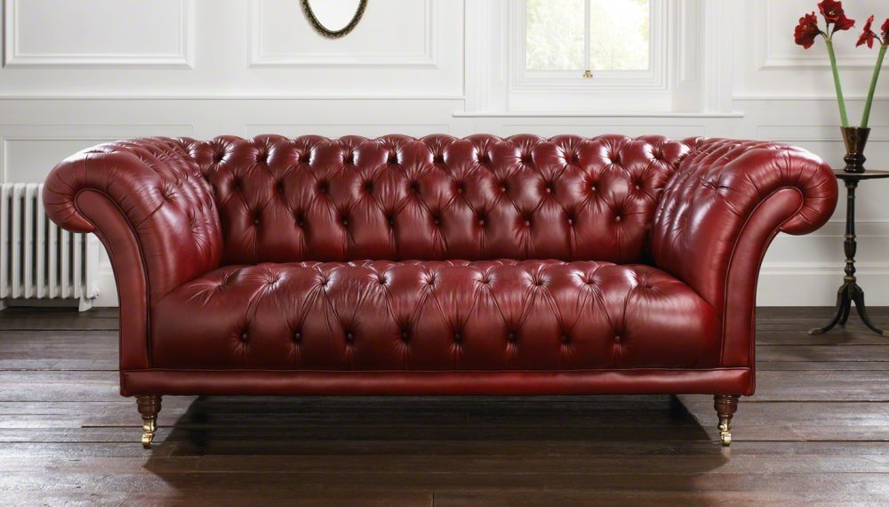 Chesterfield Sofa Leather 2 Person Red Goodwood