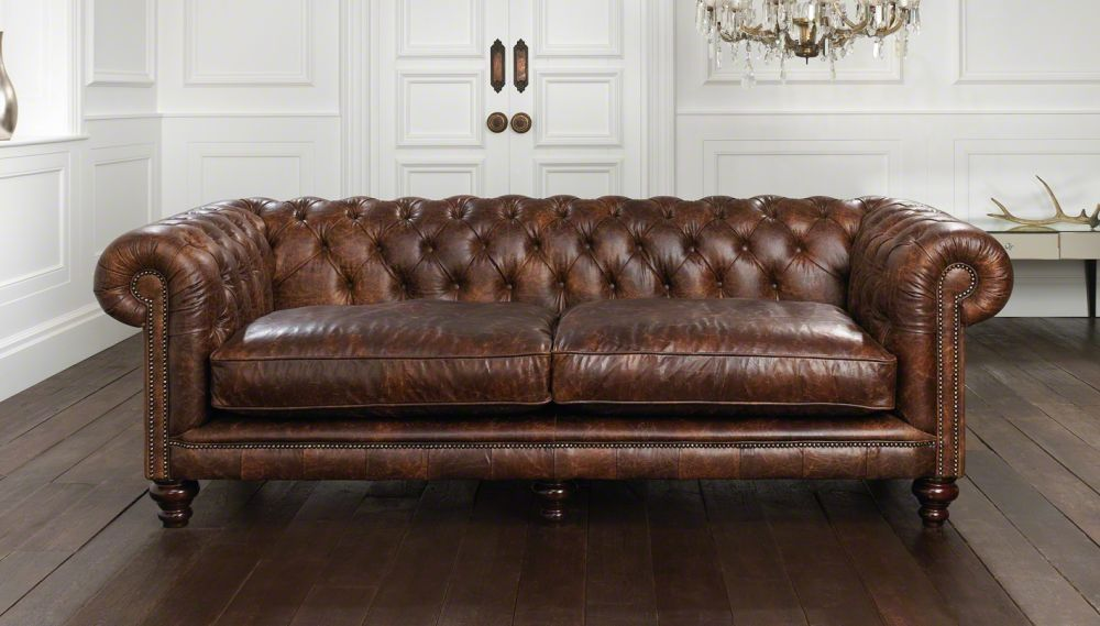 Perfect Chesterfield Sofa Leather 2seater Brown HAMPTON