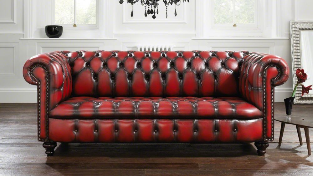 Chesterfield sofa / leather / 2-seater / red - KENSINGTON