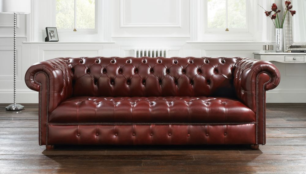 Chesterfield Sofa Leather 2 Person Brown Windsor