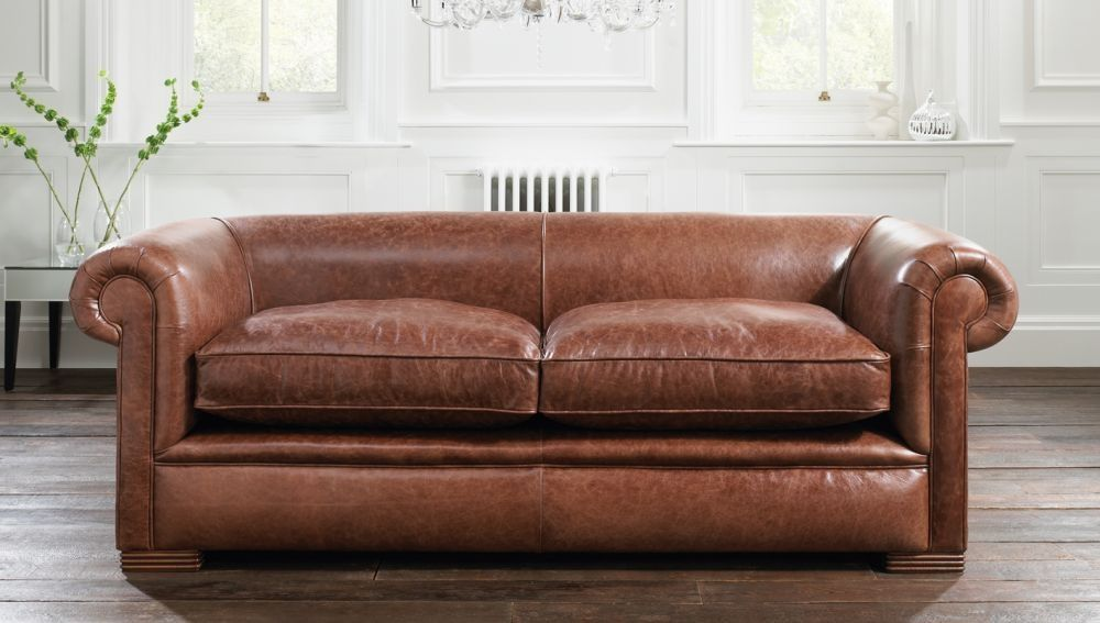 Sofa Bed Traditional Leather 2 Person Berkeley