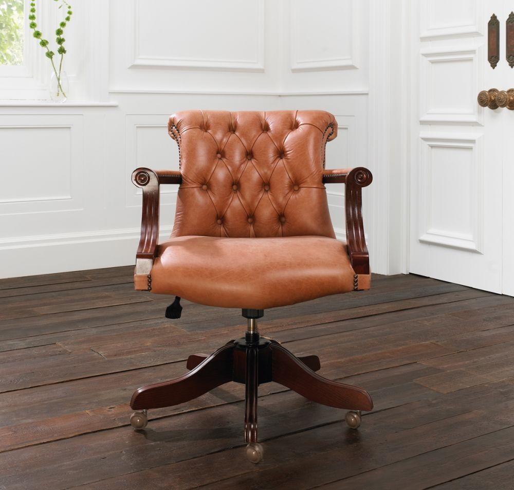 traditional office armchair leather star base residential