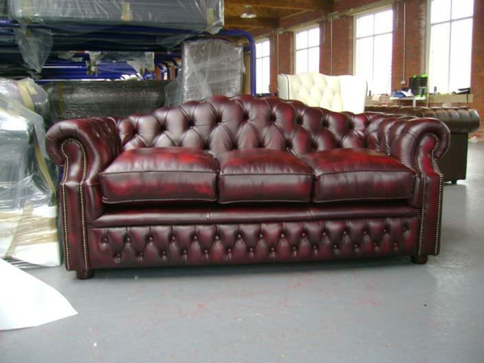 Chesterfield Sofa Leather 3 Seater Red Buckingham Seat