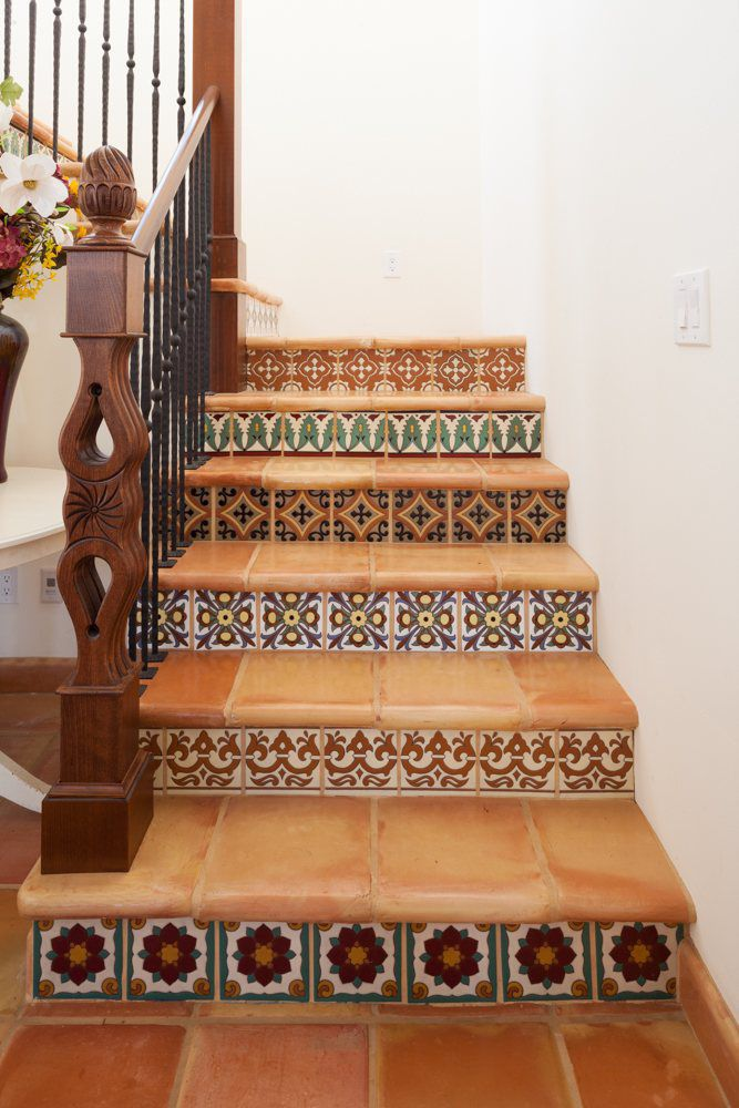 Indoor Tile Floor Ceramic Victorian Pattern Spanish Colonial Cuerda Seca