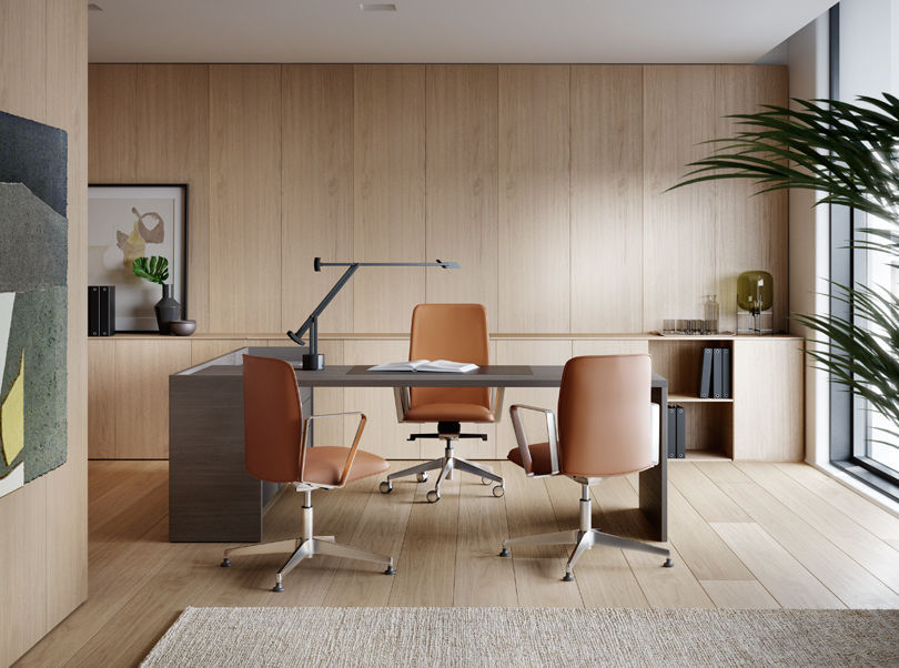 Contemporary office chair / with armrests / upholstered / on casters ...