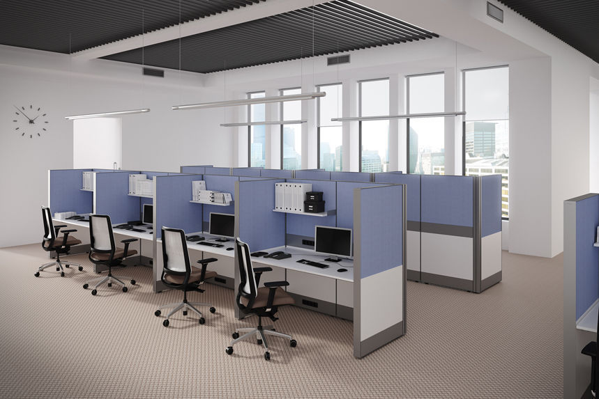 Floor Mounted Office Divider Fabric Panel System By Tandem Company