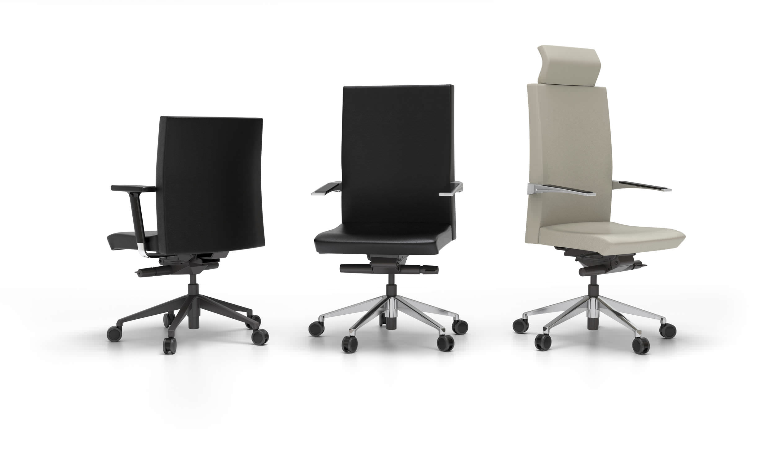 Contemporary office chair with armrests on casters star base