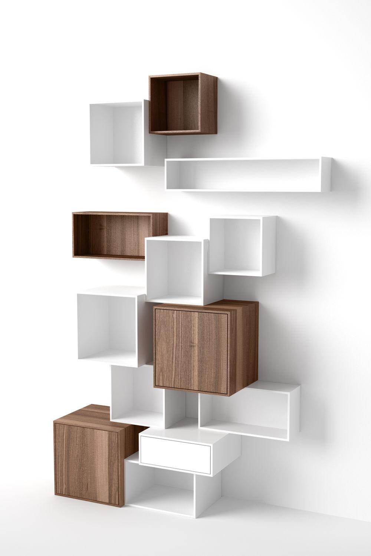 Modular Shelf / Contemporary / MDF / Commercial   Regal Weiß Walnuss